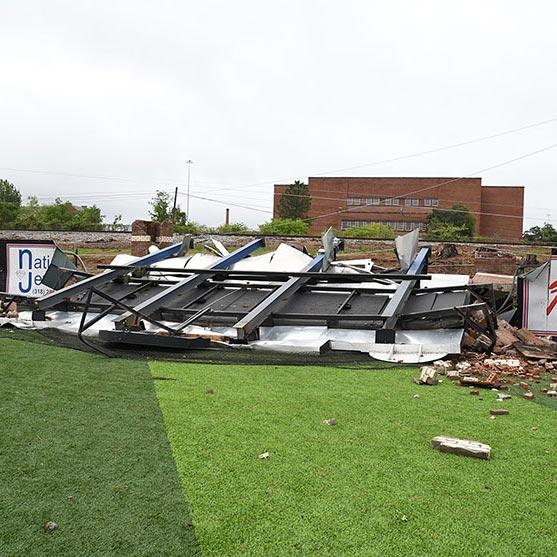 The baseball scoreboard toppled by the tornado.