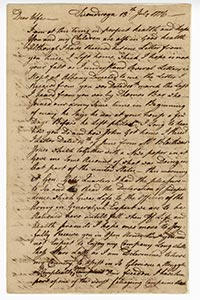 A letter from Israel Shreve to his wife in 1776.