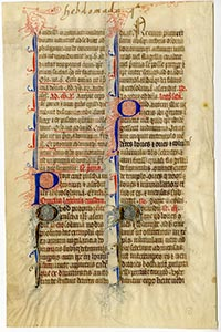 Medieval manuscript from 1350 in the University Archives.