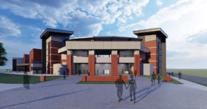 Exterior rendering of new baseball facility.