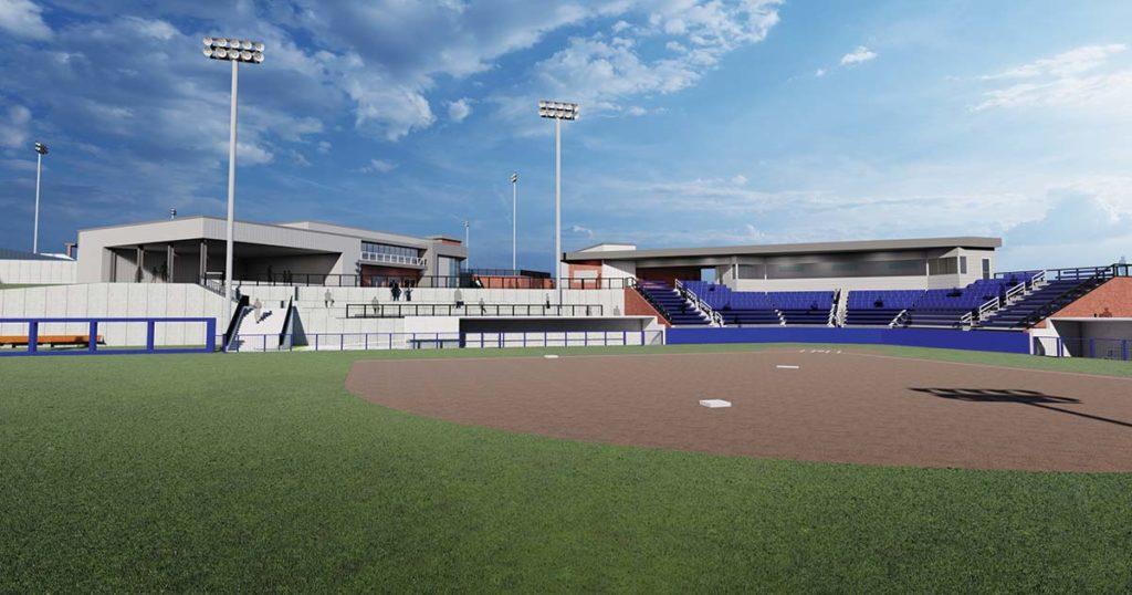 Interior of softball stadium
