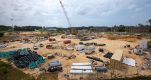 Aerial view of the baseball stadium construction.