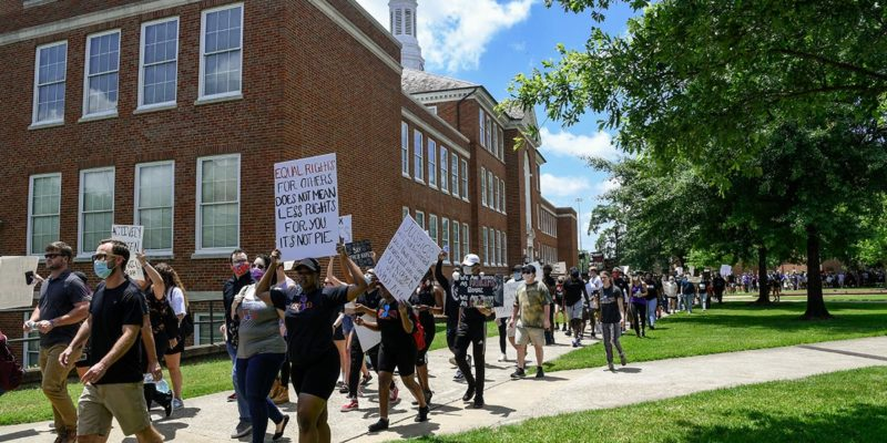 Joined by Louisiana Tech President Dr. Les Guice and Grambling State President Dr. Rick Gallot, the student marchers began their trek outside of the Student Center, making their way through campus and downtown Ruston, finally rallying together at Ruston City Hall.