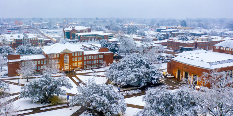 An aerial view of the Louisiana Tech campus .
