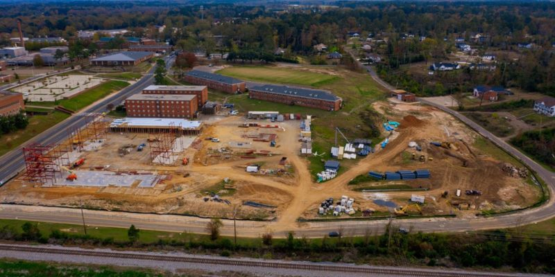 Housing and intramural field construction on Louisiana Tech University campus.