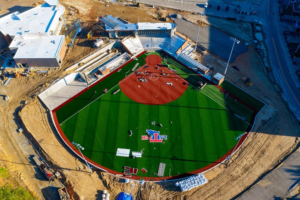 Aerial photo of the new Origin Bank Soccer and Softball Complex.