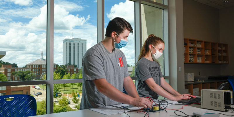 Louisiana Tech University freshmen attend class in the Integrated Engineering and Science Building during summer school on July 17, 2020. Because of the COVID-19 pandemic, students are encouraged to wear masks on campus.