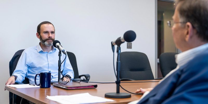 President Les Guice interviews Dr. Jeremy Mhire.